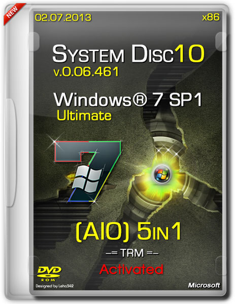 System Disc 10 - Windows 7 x86 SP1 v.0.06.461 Activated AIO 5in1 (RUS/02.07.2013)